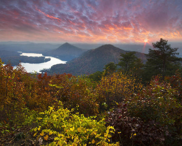 Appalachia Poster featuring the photograph Autumn Evening Star by Debra and Dave Vanderlaan