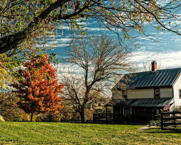Autumn In The Shenandoah Valley Poster featuring the photograph Autumn Farm House by Lara Ellis