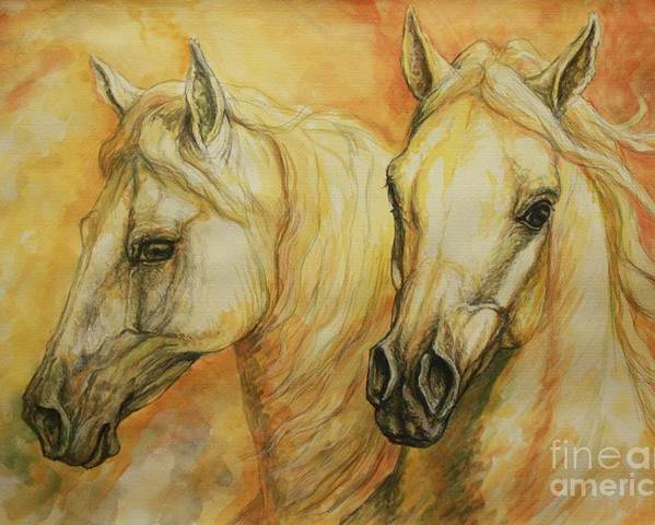 Horse Poster featuring the painting Autumn Horses by Silvana Gabudean Dobre