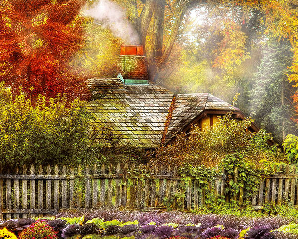 Savad Poster featuring the photograph Autumn - House - On The Way To Grandma's House by Mike Savad