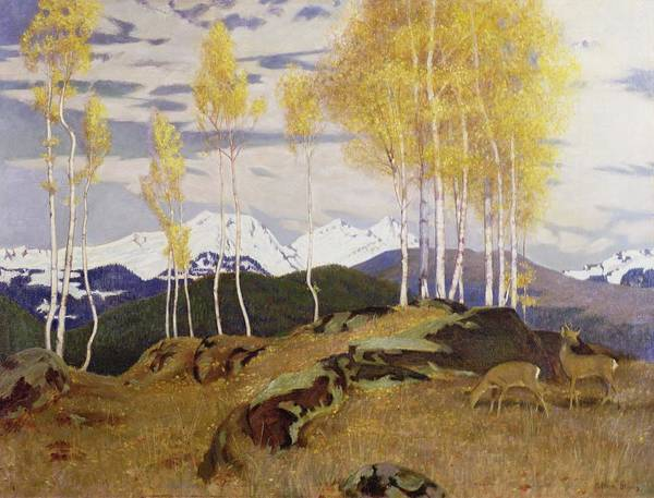 Snow Cap Poster featuring the painting Autumn In The Mountains by Adrian Scott Stokes