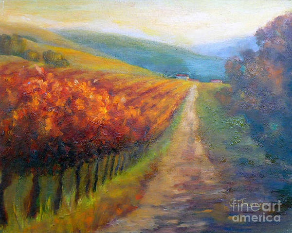 Vineyards Poster featuring the painting Autumn In The Vineyard by Carolyn Jarvis