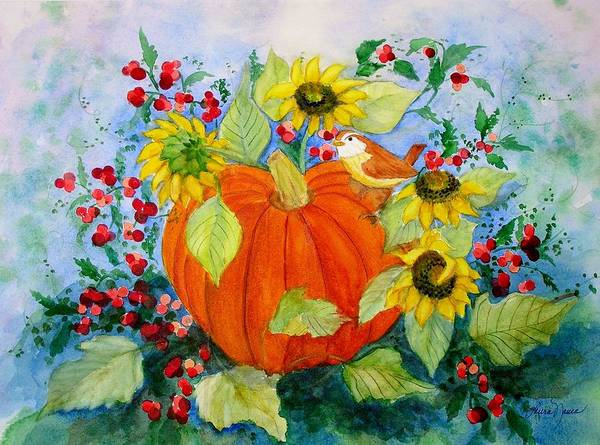 Pumpkin Poster featuring the painting Autumn by Laura Nance