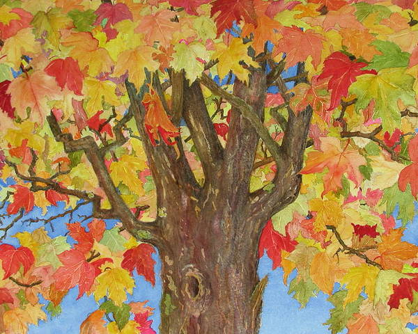 Leaves Poster featuring the painting Autumn Leaves 1 by Mary Ellen Mueller Legault
