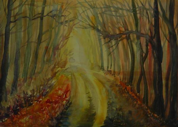 Watercolor Poster featuring the painting Autumn Light by Anna Duyunova