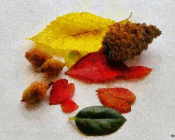 Acorn Poster featuring the painting Autumn Medley by Jeff Kolker