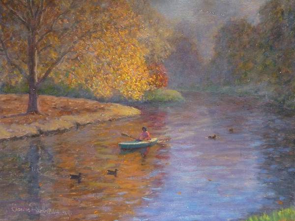 Autumn Poster featuring the painting Autumn On Avon Nz. by Terry Perham