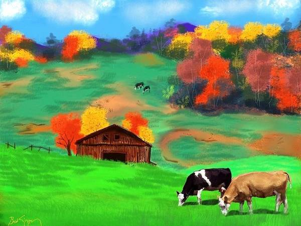 Autumn Poster featuring the digital art Autumn Pastures by Brad Simpson