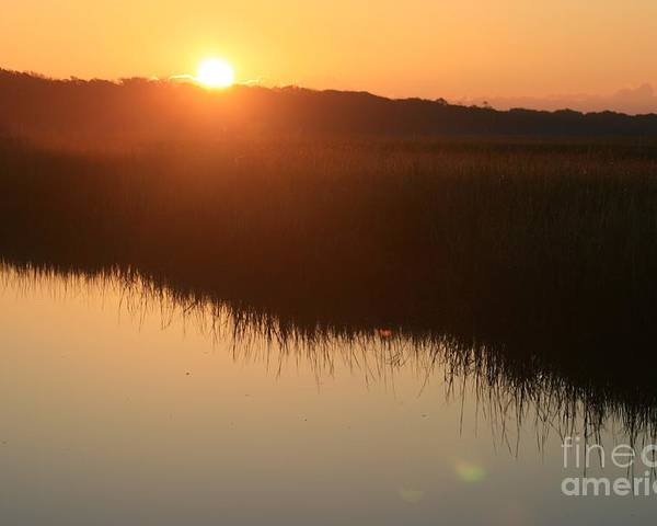 Sunrise Poster featuring the photograph Autumn Sunrise Over The Marsh by Nadine Rippelmeyer