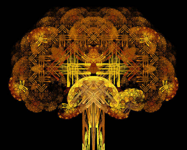 Fractal Poster featuring the digital art Autumn Tree by Sandy Keeton