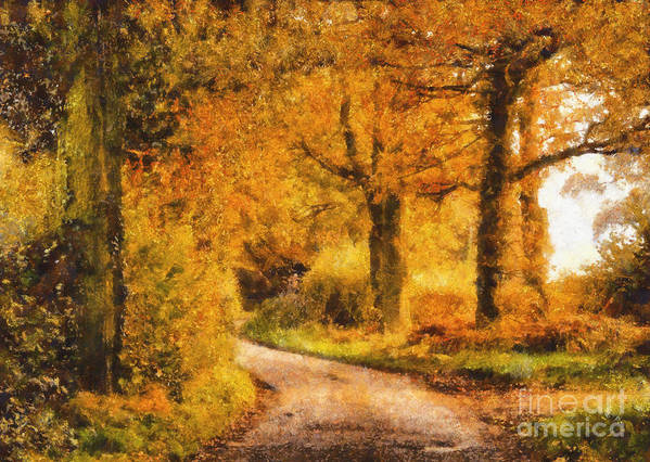 Tree Poster featuring the painting Autumn Trees by Pixel Chimp