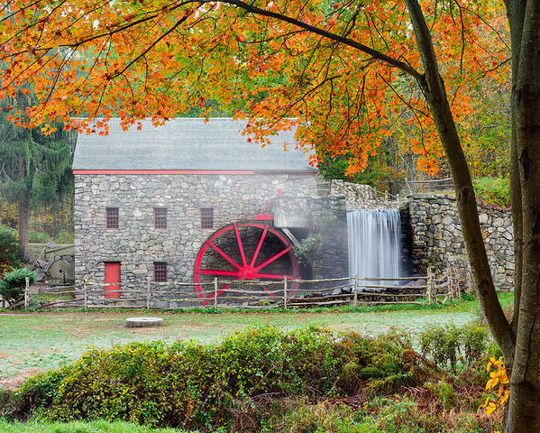 Grist Mill Poster featuring the photograph Auutmn At The Grist Mill by Michael Blanchette