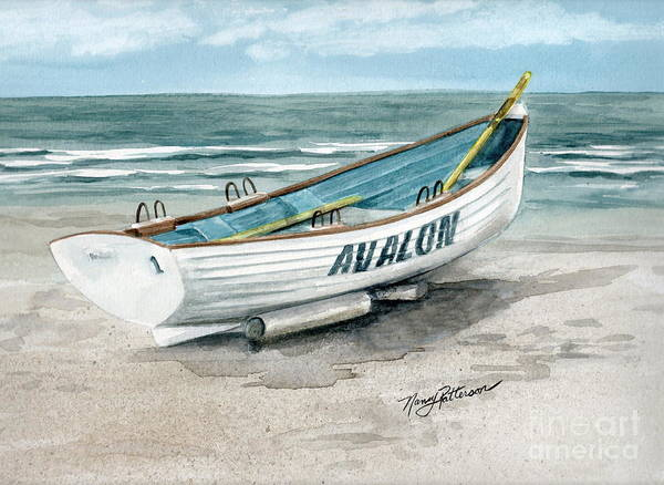 e3042799597 Lifeguard Boat Poster featuring the painting Avalon Lifeguard Boat by Nancy  Patterson