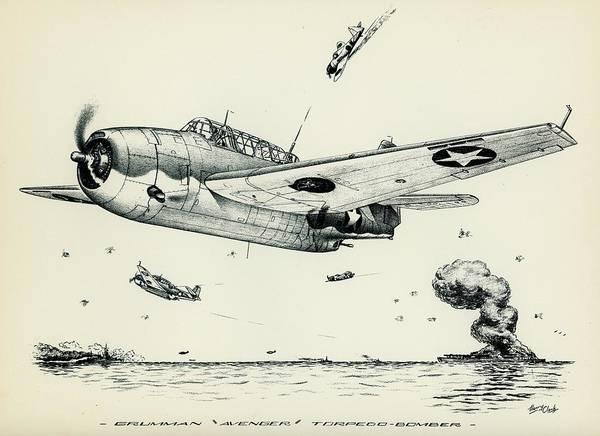 Grumman Poster featuring the drawing Avenger by Hank Clark