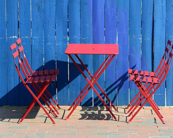 Red Blue Chair Table Fence Pick Nick Outdoor Annapolis Hungry Ice Cream Poster featuring the photograph Awaiting by
