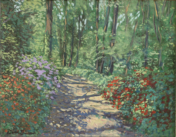 Garden Landscape Paintings Poster featuring the painting Azalea Trails by David Zimmerman