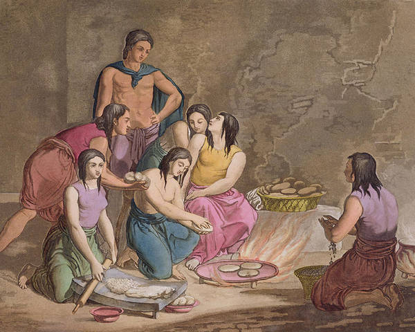 Giulio Poster featuring the drawing Aztec Women Making Maize Bread, Mexico by Gallo Gallina