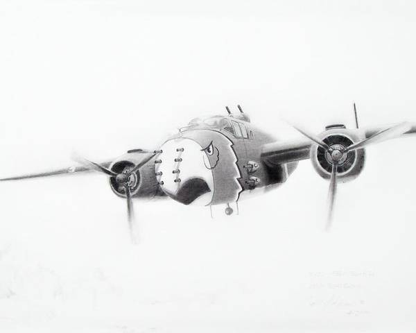 Aviation Art Poster featuring the drawing B-25 Mitchell by Scott Alcorn