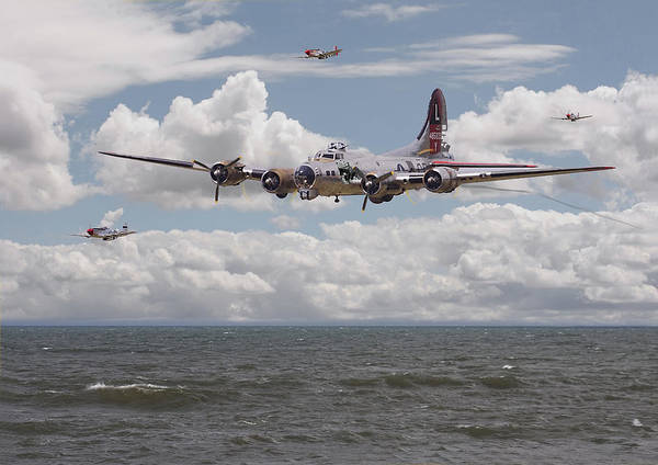 Aircraft Poster featuring the digital art B17 The Hardest Mile by Pat Speirs