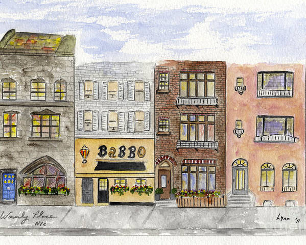 Waverly Place Poster featuring the painting Babbo @ Waverly Place by AFineLyne