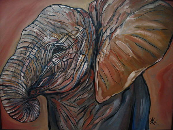 Wild Life Poster featuring the painting Baby Elephant by Aimee Vance