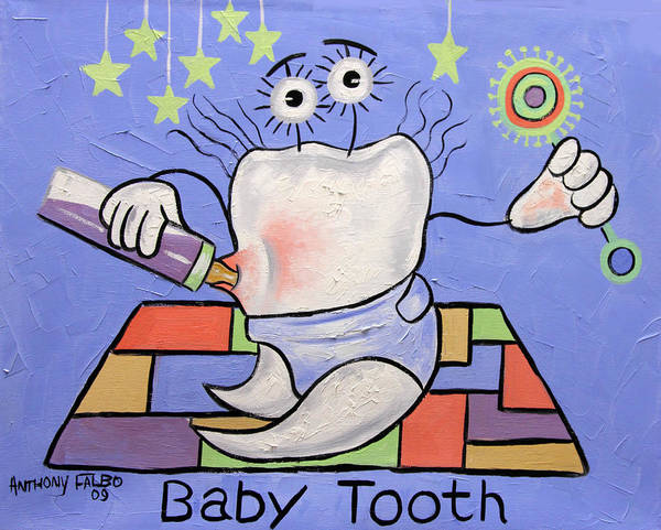 Baby Tooth Poster featuring the painting Baby Tooth by Anthony Falbo