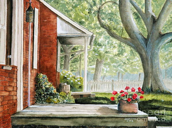 Landscape Poster featuring the painting Back Porch Geraniums by John W Walker