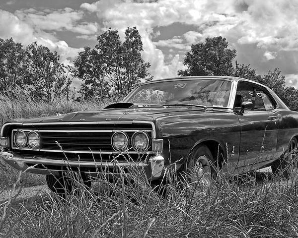 Vintage Car Poster Featuring The Photograph Back Road Find Ford Torino Cobra Jet  By