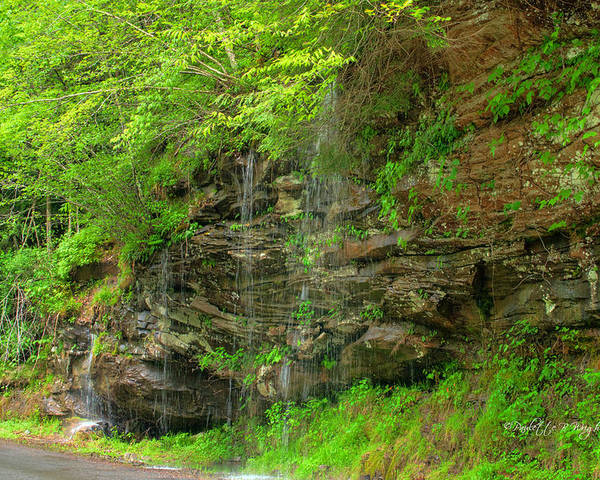 Feature Art Poster featuring the photograph Backroads Waterfall In West Virginia by Paulette B Wright