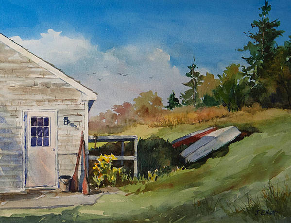 Cottage Poster featuring the painting Backyard Boats by Jo Elliott
