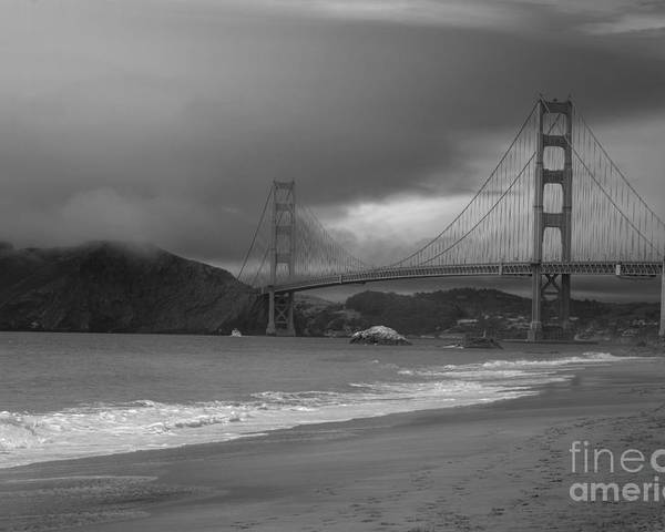 Black And White Poster featuring the photograph Baker Beach View by David Bearden