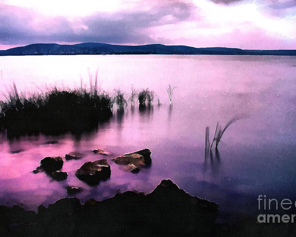 Acrylic Poster featuring the painting Balaton By Night by Odon Czintos