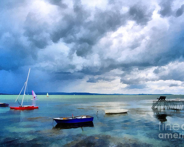 Odon Poster featuring the painting Balaton Lake by Odon Czintos