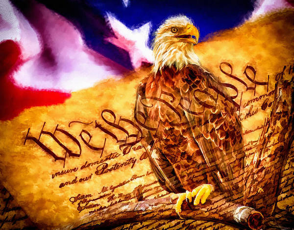 Nature Poster featuring the painting Bald Eagle With American Flag And Constitution Art Landscape by Andres Ramos
