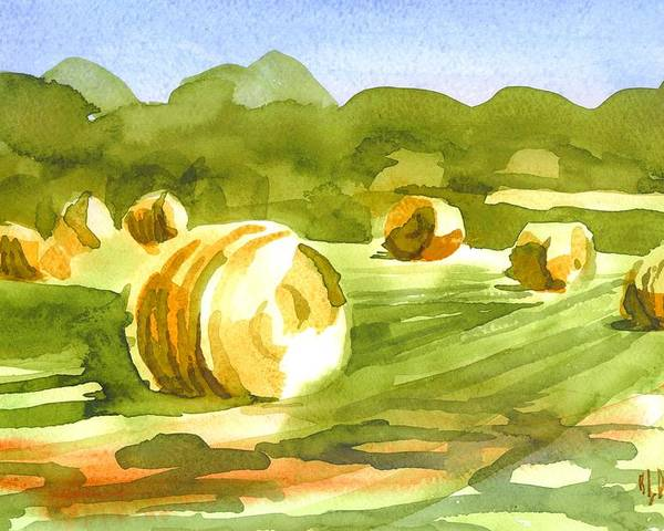 Bales In The Morning Sun Poster featuring the painting Bales In The Morning Sun by Kip DeVore