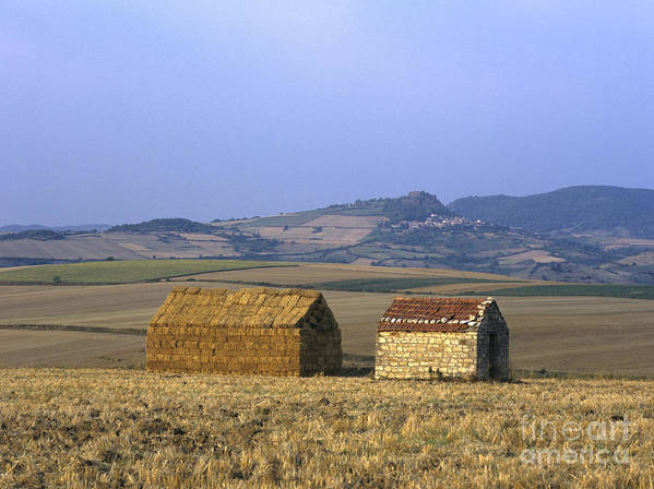 Agricultural Agriculture Auvergne Bale Of Straw Bales Of Straw Cropland Cultural Landscapes Cultural Landscape Daylight Daytime Day Europe Farming Farmlands Farmland Field Landscape Field Sceneries Field Scenery Fields Field France French Hills Hilly House S Landscape Piles Pile Stone Houses Stone House Poster featuring the photograph Bales Of Straw Stacked In The Shape Of A House Next To A Little Stone House. Limagne. Auvergne. Fran by Bernard Jaubert