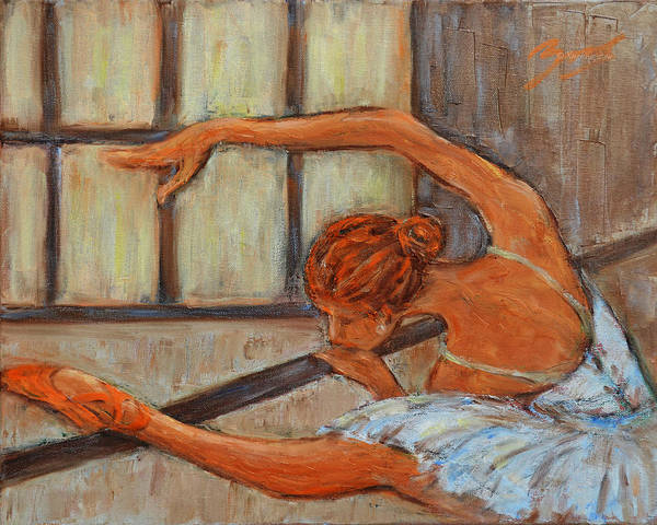 Figurative Poster featuring the painting Ballerina II by Xueling Zou