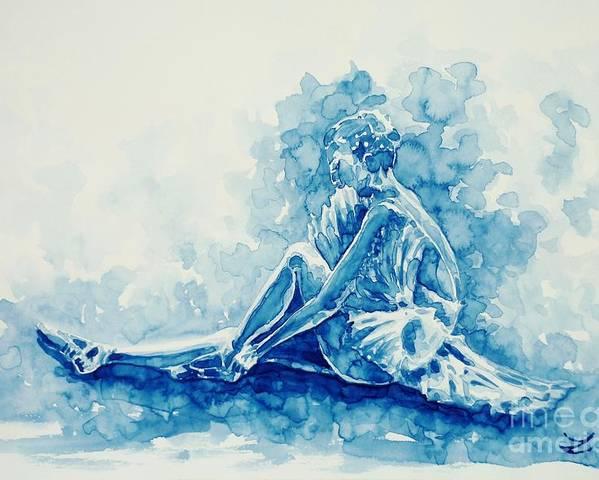 Ballerina Poster featuring the painting Ballerina by Zaira Dzhaubaeva