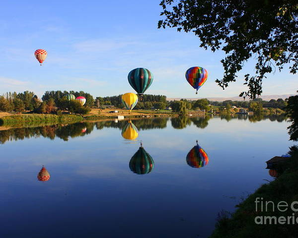 Hot Air Balloon Poster featuring the photograph Balloons Heading East by Carol Groenen