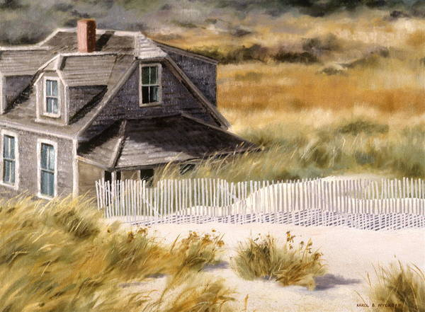 Cottage Poster featuring the painting Balston Beach House by Karol Wyckoff