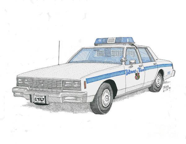 Baltimore Poster featuring the drawing Baltimore City Police Cruiser by Calvert Koerber