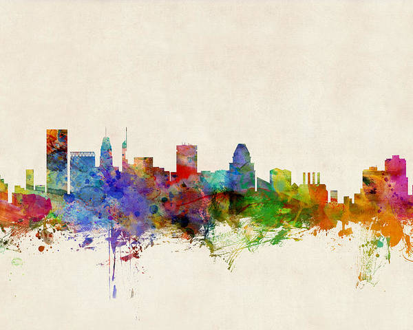 Watercolour Poster featuring the digital art Baltimore Maryland Skyline by Michael Tompsett