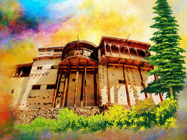 Pakistan Poster featuring the painting Baltit Fort by Catf