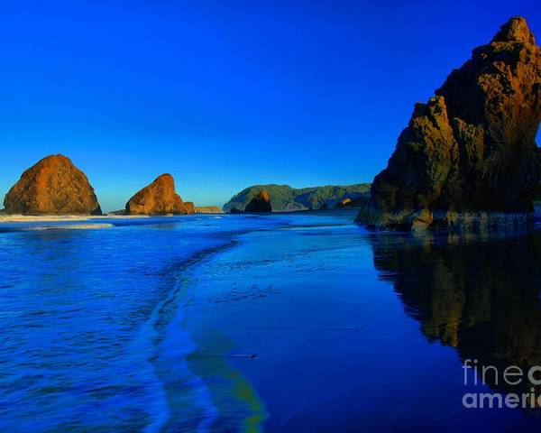 Bandon Beach Poster featuring the photograph Bandon Blue And Gold by Adam Jewell