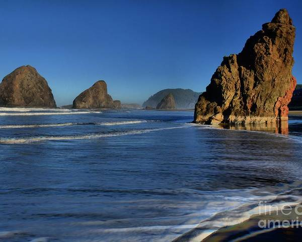 Bandon Beach Poster featuring the photograph Bandon Sea Stacks In The Surf by Adam Jewell