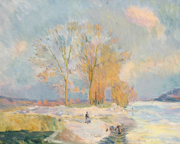 Wintry Poster featuring the painting Banks Of The Seine And Vernon In Winter by Albert Charles Lebourg