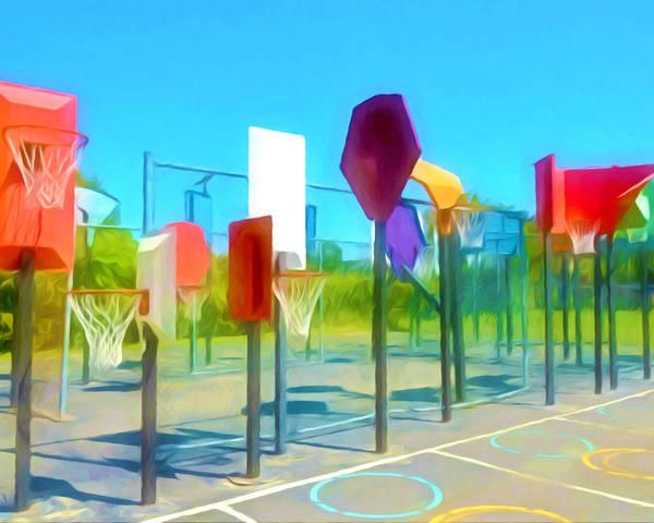 Bankshot Basketball Poster featuring the painting Bankshot Basketball 1 by Lanjee Chee
