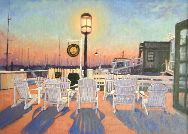 Bannister's Wharf Poster featuring the painting Bannister's Wharf Newport Ri by Betty Ann Morris