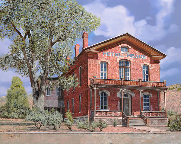 Montana Poster featuring the painting Bannock-montana-hotel Meade by Guido Borelli