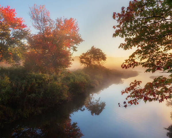 Smooth Water Poster featuring the photograph Bantam River Sunrise by Bill Wakeley